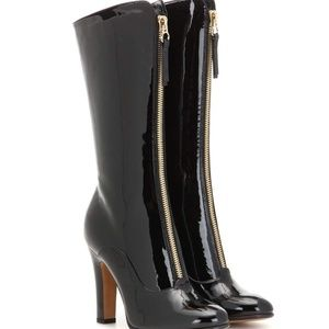 Valentino Rebelle Front-Zip Patent Leather Boots